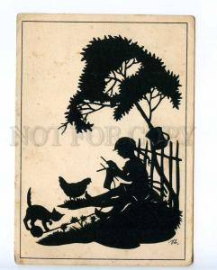 221391 GERMANY JUGEND girl knits & cat old silhouette postcard