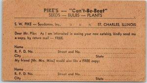 St. Charles, Illinois Postcard PIKE'S SEEDS Catalog Request Form c1930s UNUSED