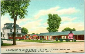 Springfield, Illinois ROUTE 66 Roadside Postcard A. LINCOLN TOURIST COURT Linen