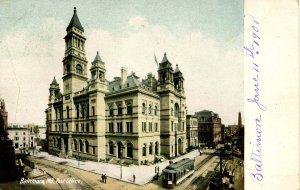 MD - Baltimore. Post Office, Trolley, Street Scene