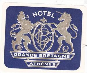 GREECE ATHENS HOTEL GRANDE BRETAGNE VINTAGE LUGGAGE LABEL