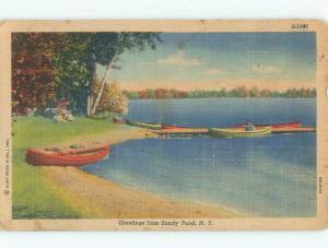 Linen CANOE BOAT ON BEACH SHORE Sandy Pond Creek By Pulaski & Waterton NY d8148