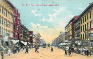 Vintage Postcard Trolley Street Scene Canal street Grand Rapids MI  Kent County