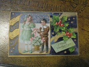 Antique Christmas Postcard PFB 9108 Boy & Girl Basket Flowers Holly 1909 Postmk