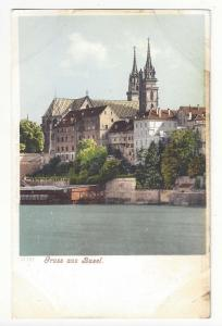 Switzerland Gruss aus Basel Greetings Church View Postcard