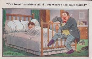 Man Drunk Cant Find Bed Stairs Bannister Alcohol Antique Comic Humour Postcard