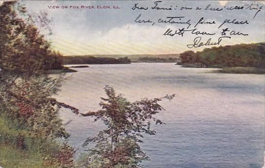 Illinois Elgin View On Fox River 1907