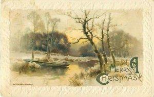1910 John Winsch Boat in Winter Scene Christmas Postcard