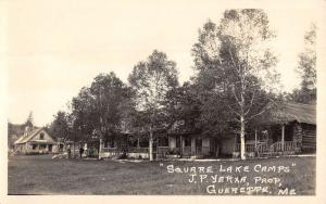 Guerette Maine Square Lake Cabins Real Photo Antique Postcard K104880