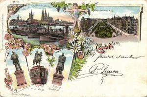 germany, KÖLN COLOGNE, Multiview, Schiffbrücke, Kaiser Wilhelm Ring, Statue 1899