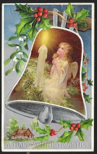 Happy Christmastide Girl Angel Bell Candle & Holly Used c1908