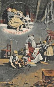 A Dream of Red Robed Santa Claus Children Helpers 41930 Postcard
