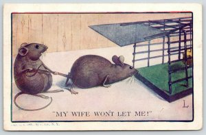 Comic Pun~My Wife Won't Let Me~Mouse Holds Husband From Trap~1907 Postcard