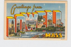 BIG LARGE LETTER VINTAGE POSTCARD GREETINGS FROM MASSACHUSETTS LOWELL #2