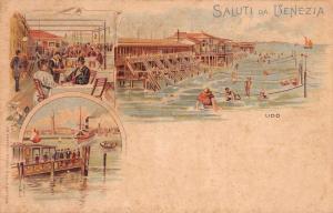 Lido di Venezia Italy Beach and Boardwalk Antique Postcard J57868