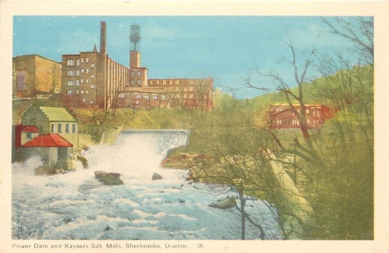 Sherbrooke Quebec~Power Dam & Kaysers Silk Mills~Water Tower~1940s