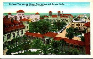 Florida St Augustine Birds Eye View Showing Alcazar Ponce De Leon and Cordova...