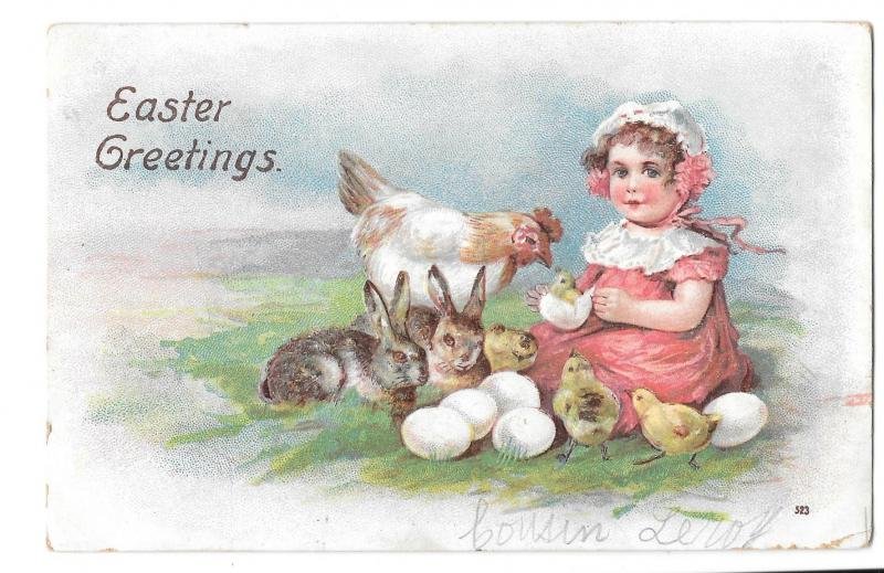 Easter Girl Hen Hatching Chicks Eggs Bunny Rabbits Embossed Postcard Post