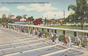 Florida Lakeland Playing Shuffleboard In Civic Center Curteich sk5872