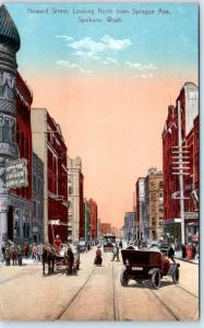 SPOKANE, Washington  WA    HOWARD STREET Looking North  1911  Postcard