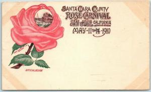 1910 San Jose, California Postcard SANTA CLARA COUNTY ROSE CARNIVAL Poster Art