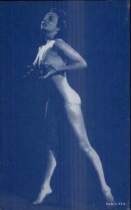 Sexy Woman Bikini Risque Stripper Blue Tint Mutoscope Exhibit Card