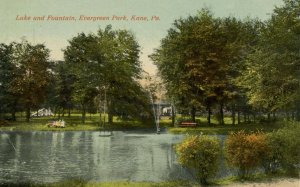 PA - Kane. Evergreen Park, Lake and Fountain