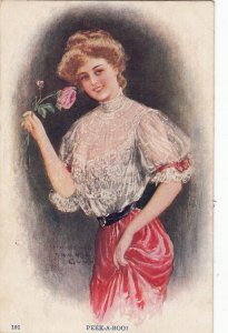 P1817 old postcard pretty woman nice smile with nice roses signed