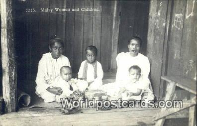 Malaysia, Malaya  Malay Women & Children Real Photo
