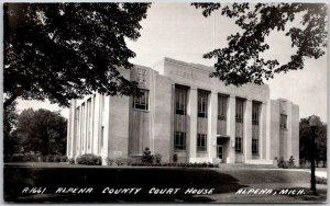 1940s Alpena, Michigan RPPC Real Photo Postcard ALPENA COUNTY COURT HOUSE Unused