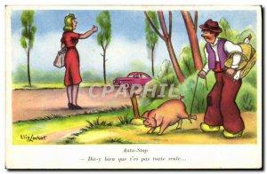 Old Postcard Fantasy Humor Auto Stop Pig Pig