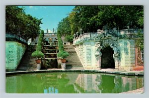 Miami FL- Florida, Vizcaya, Water Stairway, Casino, Chrome Postcard
