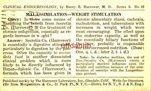 CLINICAL ENDOCRINOLOGY Henry R Harrower MD MALASSIMILATION 1924
