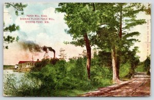 Stevens Point WI~Plover Paper Mill on the Wisconsin River & Clumpy Dirt Rd~1910