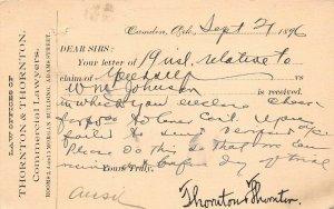 LPA53 Camden  Arkansas Postcard Law Offices 1896 Pioneer Card