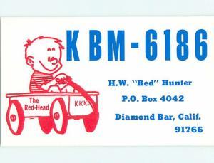 comic - QSL CB HAM RADIO CARD Diamond Bar California CA t9574