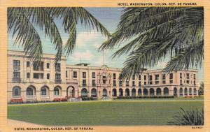 Hotel Washington, Colon, Panama, Early Linen Postcard, unused