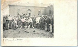 Vintage BOXING Postcard Army Boxing Match Scene G.L. Thompson c1910s Unused