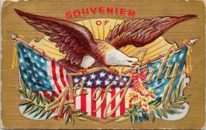 Souvenir of 4th of July Series #3 USA Flag Eagle Embossed c1909 Postcard F19