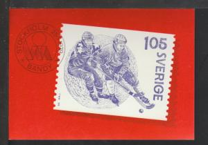Sweden Hockey Stamp Postcard