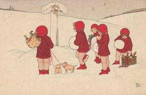 Pauli EBNER ; Kids & Pigs at road sign in Winter , 1909
