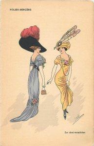Early parisian fashion pictorial card artist signed les demi-mondaines