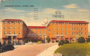 Laurel Mississippi Pinehurst Hotel Street View Antique Postcard K50380