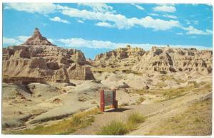 USA, The Fabulous Badlands of South Dakota, 1958 used Postcard