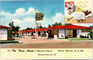Postcard AR Phoenix The Town House Highway 80 716 So. 17th Ave. LINEN 1948 L14