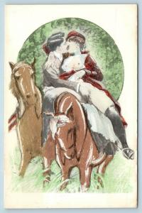 Postcard French Risque Man Woman Nude Action Cartoon Touching On Horseback Q16