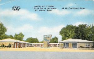 Motel Mt Vernon Illinois~800 E Main St Linen Roadside~1953