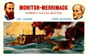 Monitor-Merrimack Famous Naval Battle Capt.Worden  Comm.Buchanan