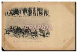 Postcard Old Smyrna Caravan of Camels and Turkish Cimitiere