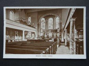 London JOHN WESLEY'S CHAPEL Interior Methodist church c1938 RP Postcard